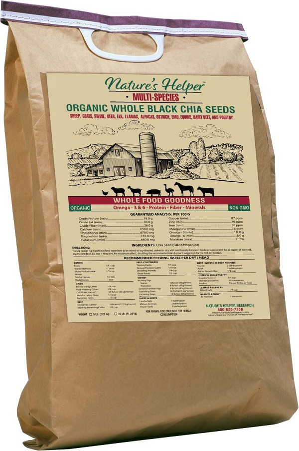Nature's Helper Organic Whole Black Chia Seeds (FIVE 25-Pound Bags) Choice Of Flavor(s) & Shipped Free*